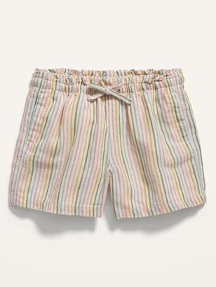 Old Navy Striped Pull-On Linen-Blend Shorts for Toddler Girls