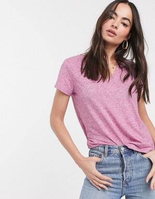 French Connection hetty v neck jersey sleeve t-shirt in pink