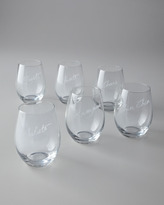 "Six ""Cheers"" Stemless Wine Glasses"