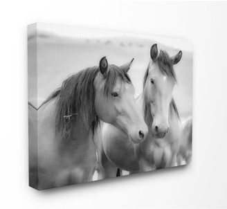 Stupell Home Decor 'Black and White Soft Graphite Look Two Horses' Photograph Stretched Canvas Wall Art