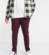 Asos Design DESIGN Plus skinny smart pants in dark burgundy