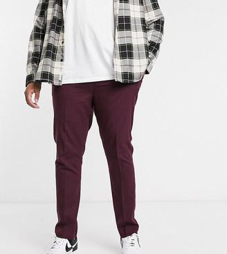 ASOS DESIGN Plus skinny smart pants in dark burgundy