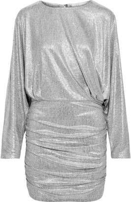 IRO Silar Ruched Metallic Jersey Mini Dress