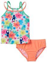Carter's Girls 4-6x Tropical Flower Print Tankini Top & Bottoms Swimsuit Set