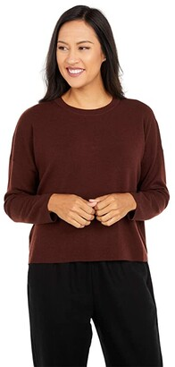 Eileen Fisher Crew Neck Box Top (Brown Stone) Women's Clothing