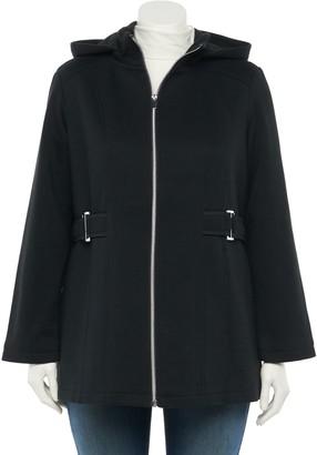 Details Plus Size Hooded Fleece Jacket