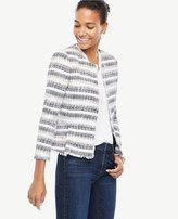 Ann Taylor Stripe Tweed Fringe Jacket