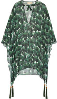 Adriana Degreas - Ginkgo Tassel-trimmed Printed Silk-chiffon Kaftan - Forest green