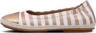 FitFlop Allegro Metallic-Stripe Canvas Ballet Flats