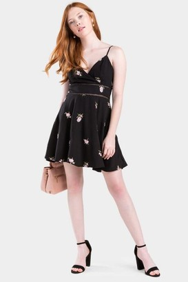 francesca's Delle Embroidered Ladder Trim Dress - Black