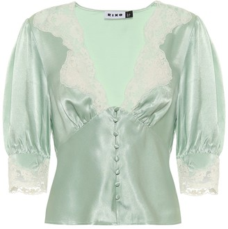 Rixo Amanda lace-trimmed satin blouse