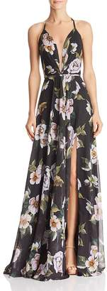 Couture Faviana Floral-Print V-Neck Gown