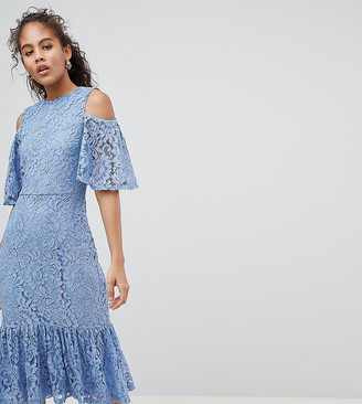 Y.A.S Tall Lace Cold Shoulder Midi Dress-Blue