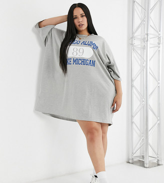 ASOS DESIGN Curve oversized t-shirt dress with chicago print in grey