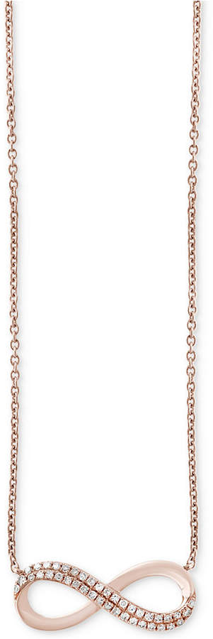 Effy Diamond Infinity Pendant Necklace (1/8 ct. t.w.) in 14k Rose Gold
