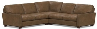 Pottery Barn Turner Square Arm Leather 3-Piece L-Sectional Nailheads