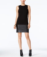 Bar III Faux-Leather-Inset Dress, Only at Macy's