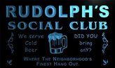 AdvPro Name pz359-b Rudolph's Social Club Neighborhood Hang Out Bar Beer Neon Light Sign