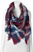 David & Young Plaid Frayed Triangle Scarf