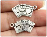 Nobrand No brand 8pcs 24*13mm vintage antique silver color Poker charms