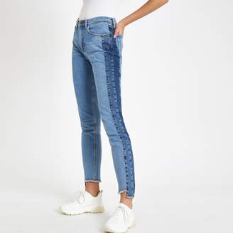 River Island Womens Blue Casey shadow side panel slim fit jeans