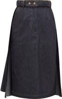 Symonds Pearmain - Belted Denim Pencil Skirt - Womens - Denim