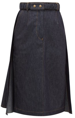 Symonds Pearmain - Belted Denim Pencil Skirt - Denim