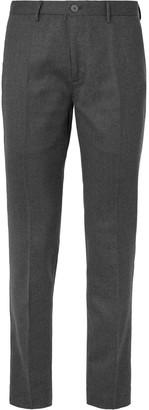 Incotex Charcoal Slim-Fit Wool-Blend Flannel Trousers