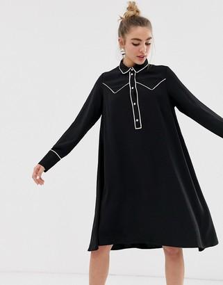 Monki western trim shirt dress-Black