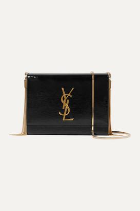 Saint Laurent Kate Textured Patent-leather Shoulder Bag - Black