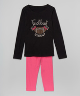 Beary Basics Black 'Football Sister' Tee & Leggings - Toddler & Girls