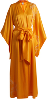 Carine Gilson Lace-appliqué silk-satin robe