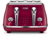 De'Longhi Delonghi Ctoe4003r Icona Elements 4 Slice Toaster Red