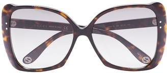 Gucci Havana oversized square sunglasses