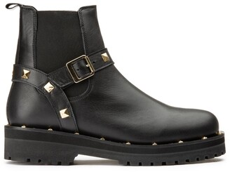 Jonak Aiparla Leather Chelsea Ankle Boots with Chunky Heel and Buckles