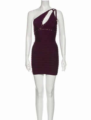 Herve Leger One-Shoulder Mini Dress Purple