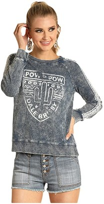 Rock and Roll Cowgirl Long Sleeve Knit 48T4476 (Navy) Women's Clothing