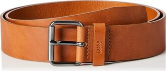 HUGO BOSS Mens Serge-GS Sz40 Tanned-leather belt with gunmetal roller buckle