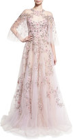 Marchesa Floral-Embroidered Tulle Flutter-Sleeve Gown, Light Pink