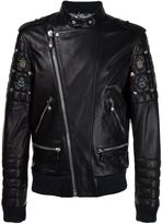 Philipp Plein quilted sleeve biker jacket