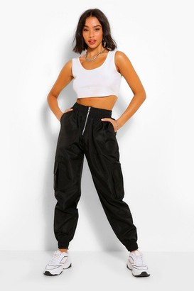 boohoo Zip Front Utility Shell Jogger