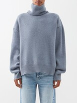 Raey Cropped Displaced-sleeve Roll-neck Wool Sweater - Womens - Blue