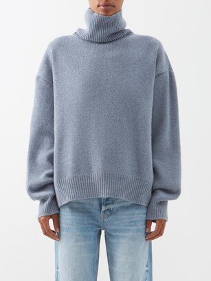 Raey Cropped Displaced-sleeve Roll-neck Wool Sweater - Blue