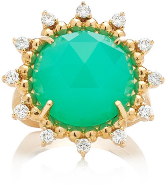 Kathryn Elyse Sunburst 14K Yellow Gold Chrysoprase and Diamond Ring