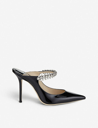 Jimmy Choo Bing 100 crystal-embellished patent-leather heeled mules