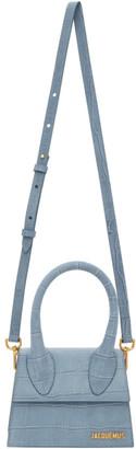 Jacquemus Blue Croc Le Chiquito Moyen Top Handle Bag