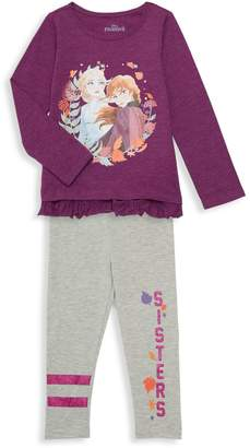 Disney Little Girl's 2-Piece Graphic Cotton-Blend Top & Leggings Set