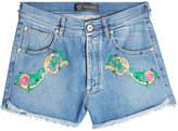 Versace Embroidered Denim Shorts