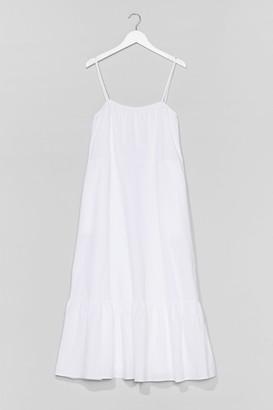 Nasty Gal Womens Plus Strappy Cotton Smock Midi Dress - White