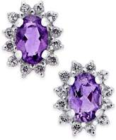 Macy's Amethyst (7/8 ct. t.w.) and White Topaz (1/4 ct. t.w.) Stud Earrings in 10k White Gold